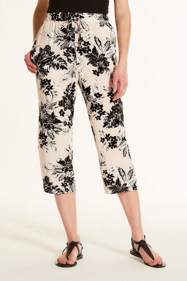 Tropical Floral Wide Leg Cropped Trousers