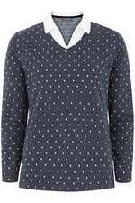 Jacquard Spot Mock 2 in 1 Sweater