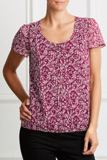 Printed Ditsy Tie Front Blouse