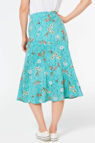 Meadow Burnout Print Frill Hem Skirt
