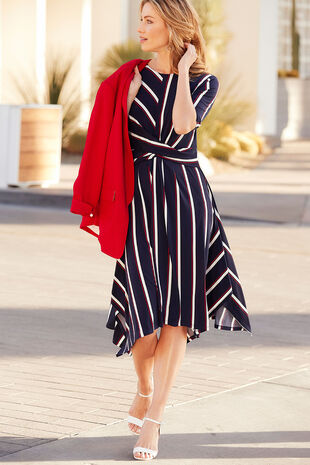 Stripe Print Hanky Hem Dress