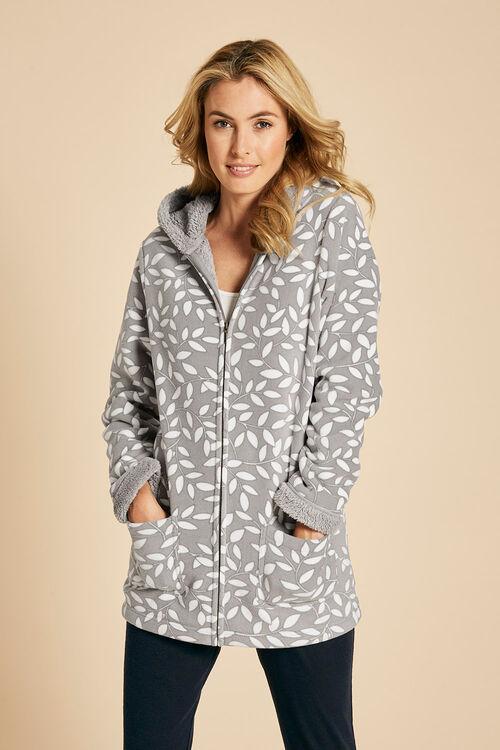 Leaf Print Hooded Fleece