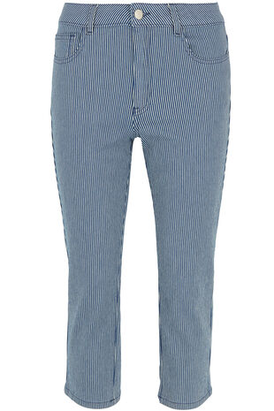 Stripe Denim Capri Trouser