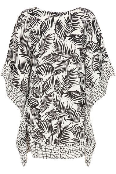Palm Print Kaftan With Beaded Neckline