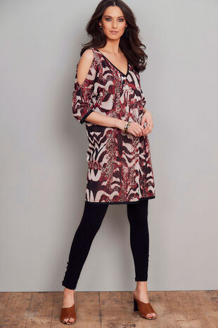 Join Us Animal Pattern Cold Shoulder Dress