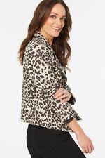 Leopard Print Suedette Biker Jacket