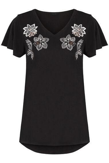 Embroidered Neckline T-Shirt