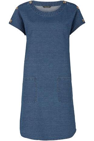 Denim Button Shoulder Dress