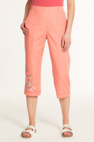 Embroidered Cotton Cropped Trouser