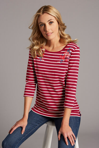 Stripe Floral Mirror Placement T-Shirt
