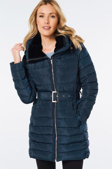 Midi Length Coat with Fur Collar