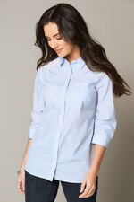 Stripe Shirt With Lace Trim At Shoulders