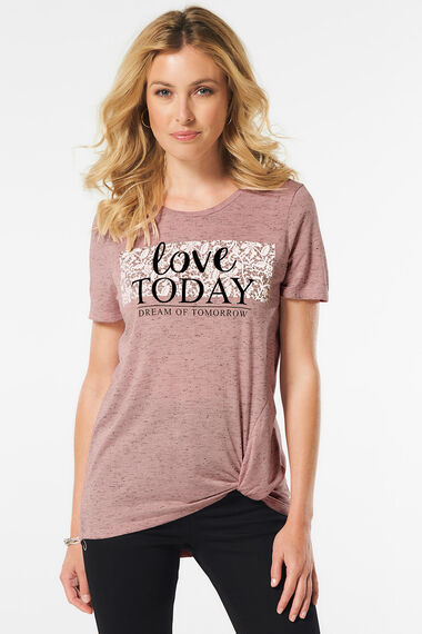 Slogan Tie Side T-Shirt