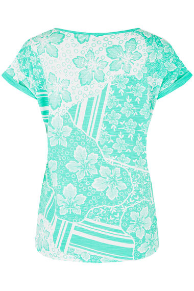 All Over Floral and Stripe Print T-Shirt