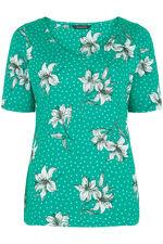Lily Print V Neck T-Shirt