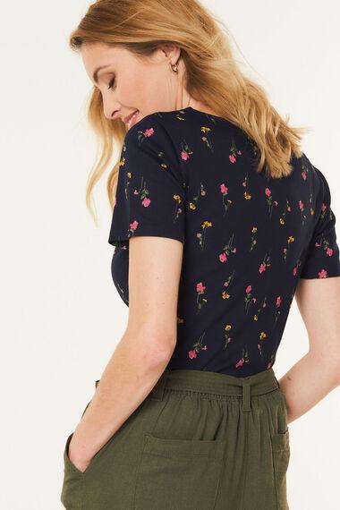 Scoop Neck Pressed Flower T-Shirt