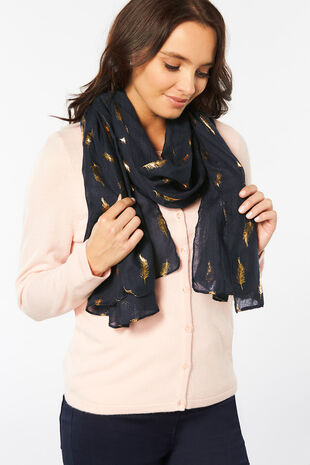 Totes Foil Feather Print Scarf