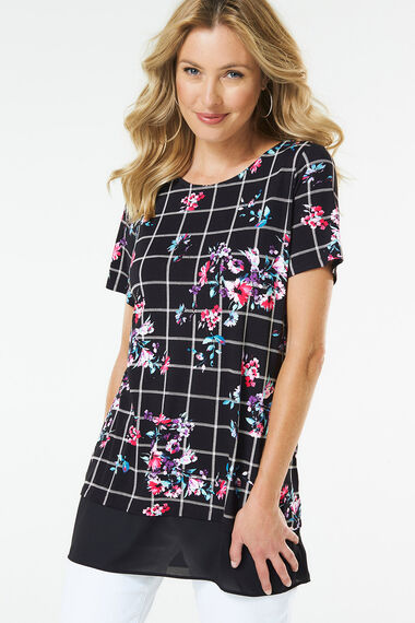 Check And Floral Tunic With Chiffon Hem