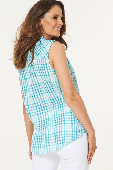 Longline Sleeveless Button Through Check Shirt