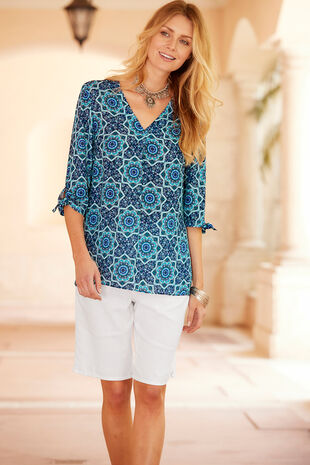 Tile Printed Longline Tie Sleeve Shirt