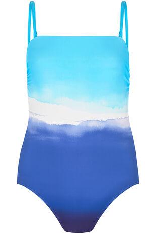 Watercolour Ombre Bandeau Swimsuit