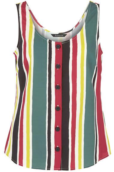 Stripe Button Through Vest