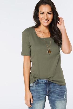 Half Sleeve Square Neck T-Shirt
