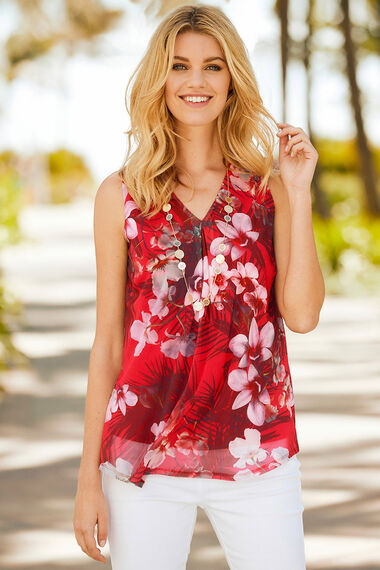 Sleeveless Tropical Print Mesh Top