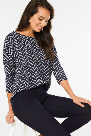Soft Touch Herringbone Print Sweat