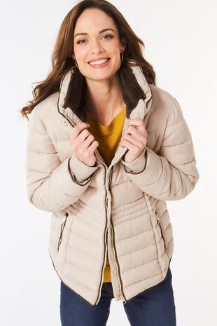 Faux Fur Collar Padded Jacket