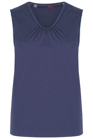 Sleeveless V Neck Pyjama Top