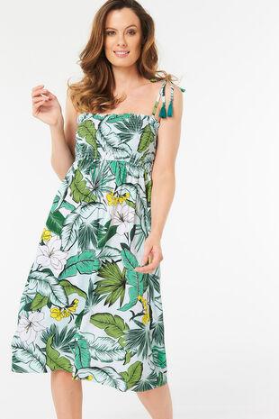 Leaf Print Skirt Dress With Tassels