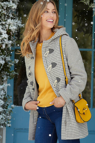 Houndstooth Duffle Coat