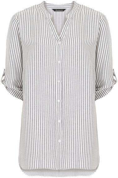 Longline Button Through Stripe Shirt