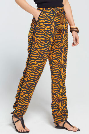 Isla & Rose Ochre Zebra Print Pull On Trouser