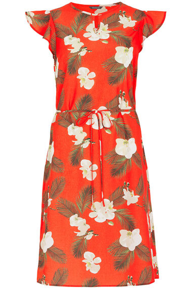 Orchid Print Belted Dress