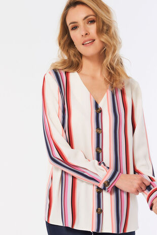 Stripe Button Through Blouse
