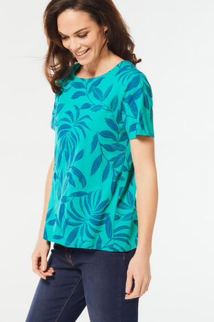 Graphic Print Bow Back T-Shirt