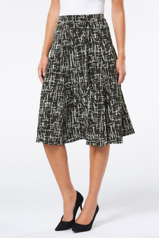 Grid Dot Print A Line Skirt