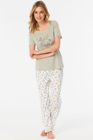Bee Slogan Print PJ Set