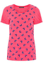 Butterfly and Stripe Print T-Shirt