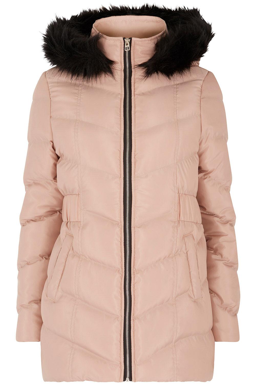 bellfield faux fur trim hood coat