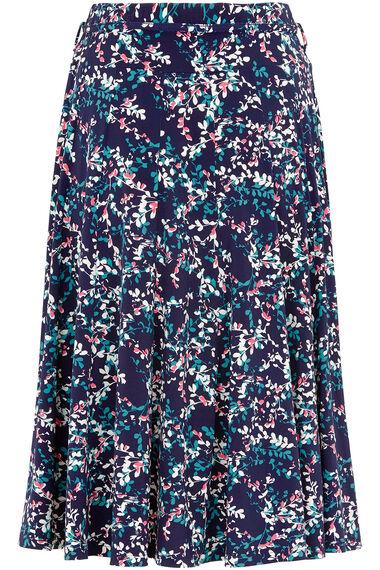 Leaf Print A Line Skirt