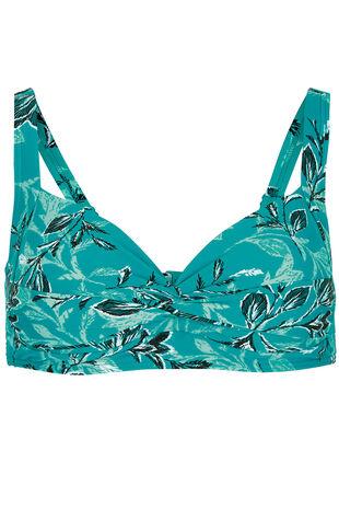 Leaf Print Twist Front Bikini Top