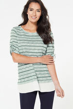 Glittery Knitted Top With Woven Hem