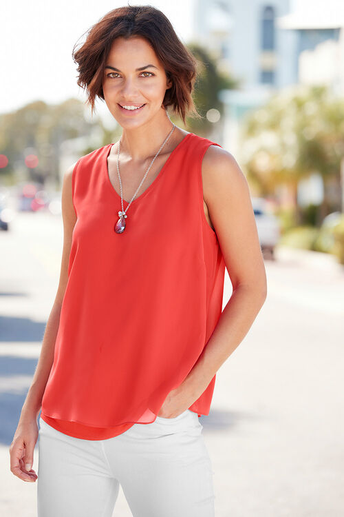 Plain Sleeveless Double Layer Top With Necklace