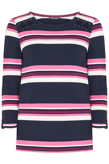 Multi Stripe Lace Up Shoulder T-Shirt