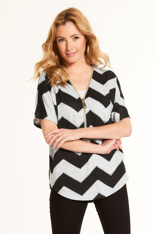 Stella Morgan Soft Touch Zig Zag Short Sleeve Sweater