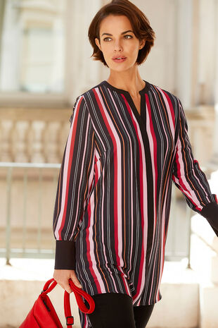 Stripe Bubble Crepe Shirt