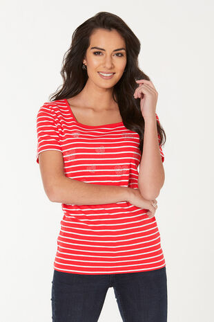Stripe with Heart Diamantes T-Shirt